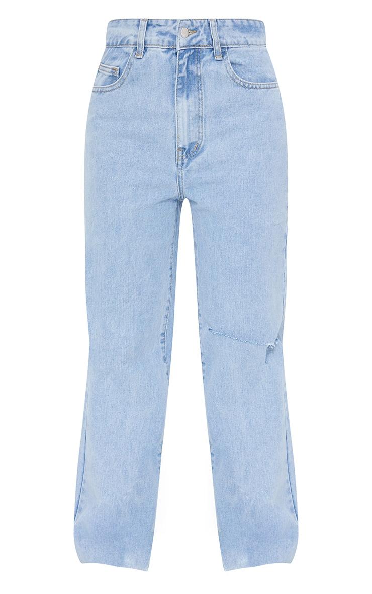 Light Blue Wash Knee Rip Wide Leg Jean 5