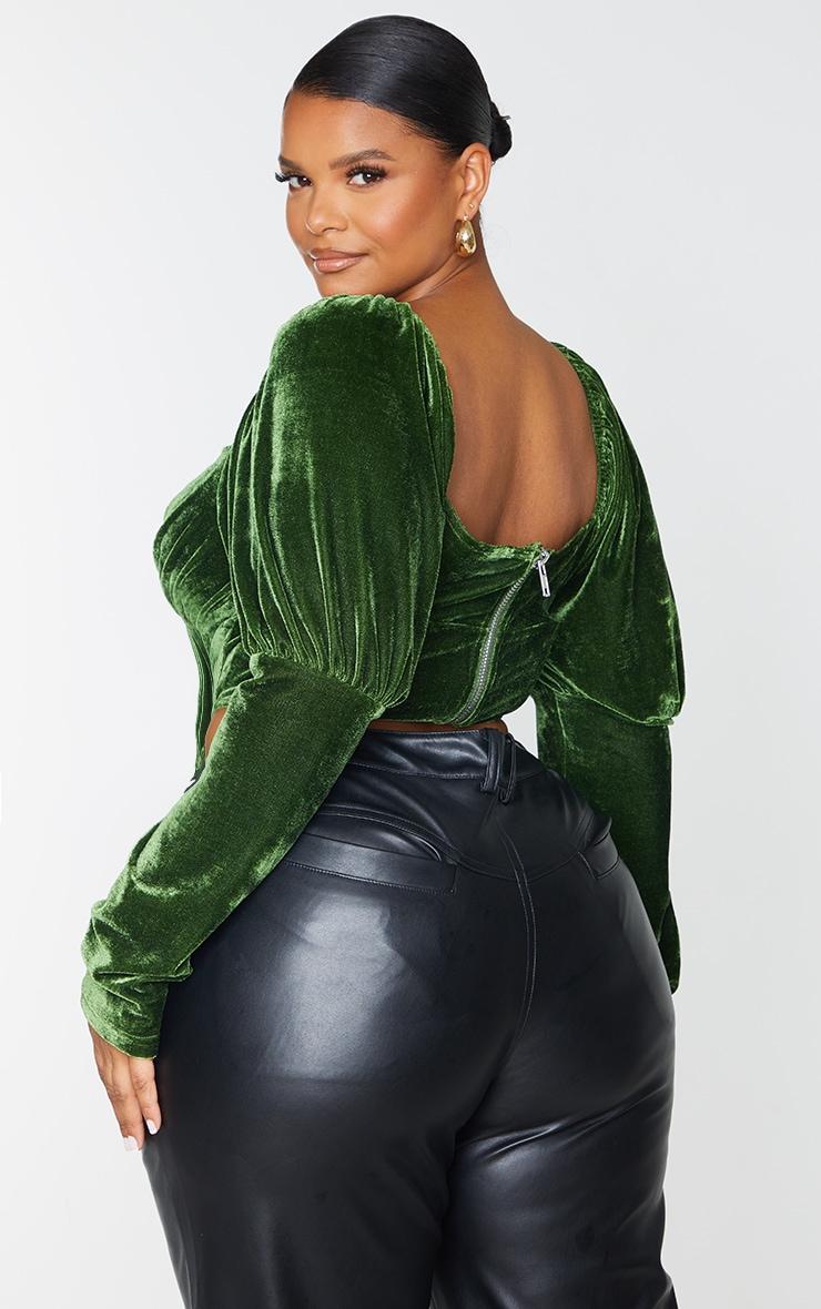 Plus Emerald Velvet Puff Sleeve Corset Top 2