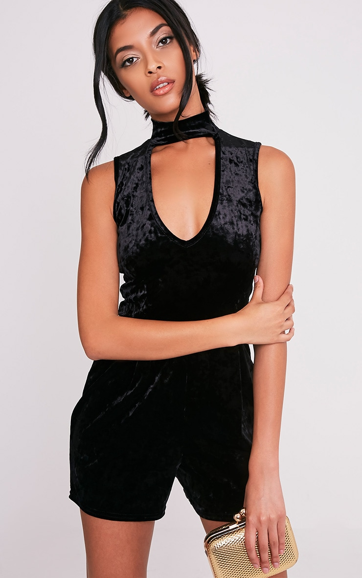 Adaleena Black Choker Neck Velvet Playsuit 1