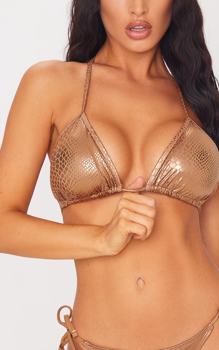 Brown Metallic Snake Padded Triangle Bikini Top 4