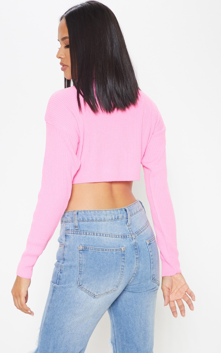 Pink Knitted Rib Cropped Roll Neck Jumper 2