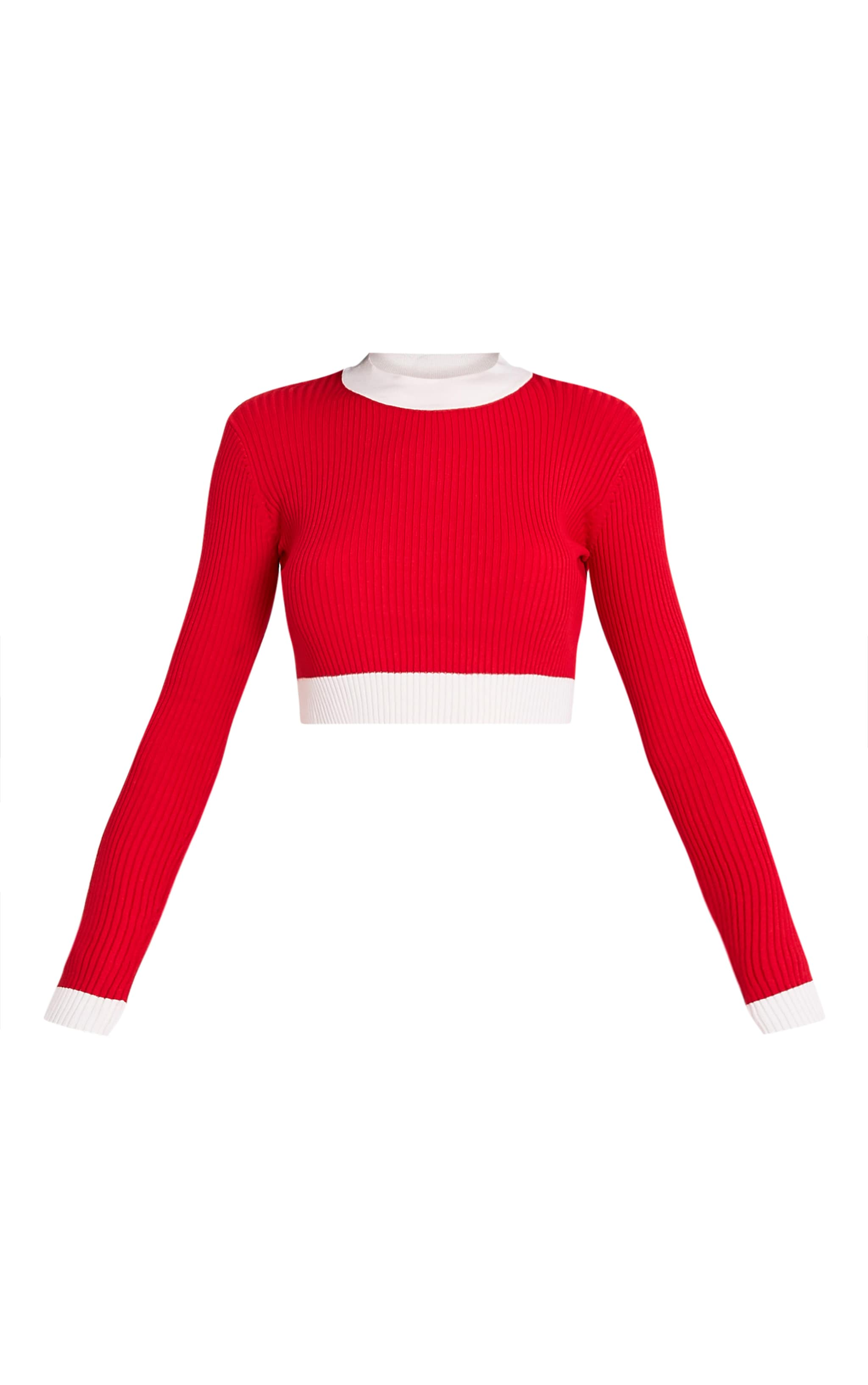 Sufiya Red Colour Blocked Knit Ribbed Crop 3