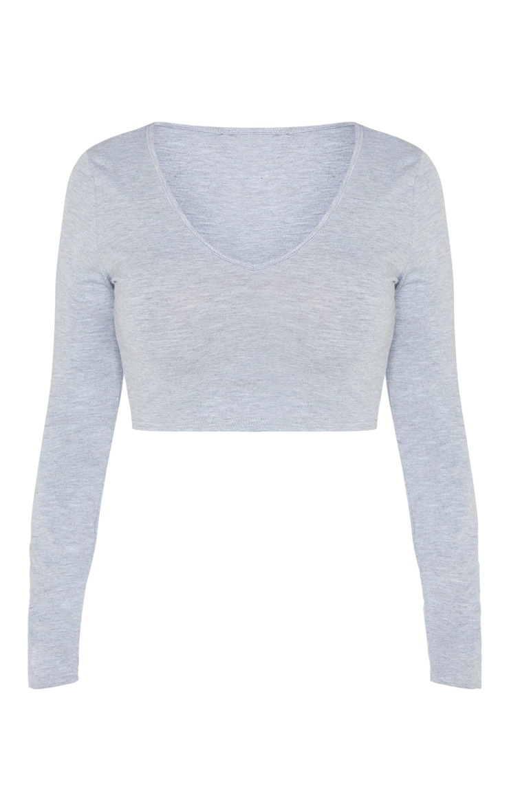 Petite Grey Jersey Long Sleeve V Neck Crop Top 3
