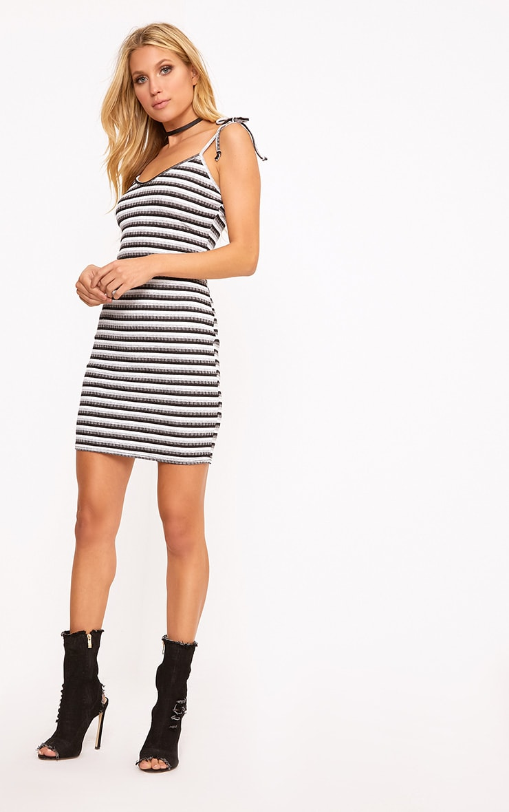 Courtni Black Ribbed Striped Tie Sleeve Bodycon Dress  3
