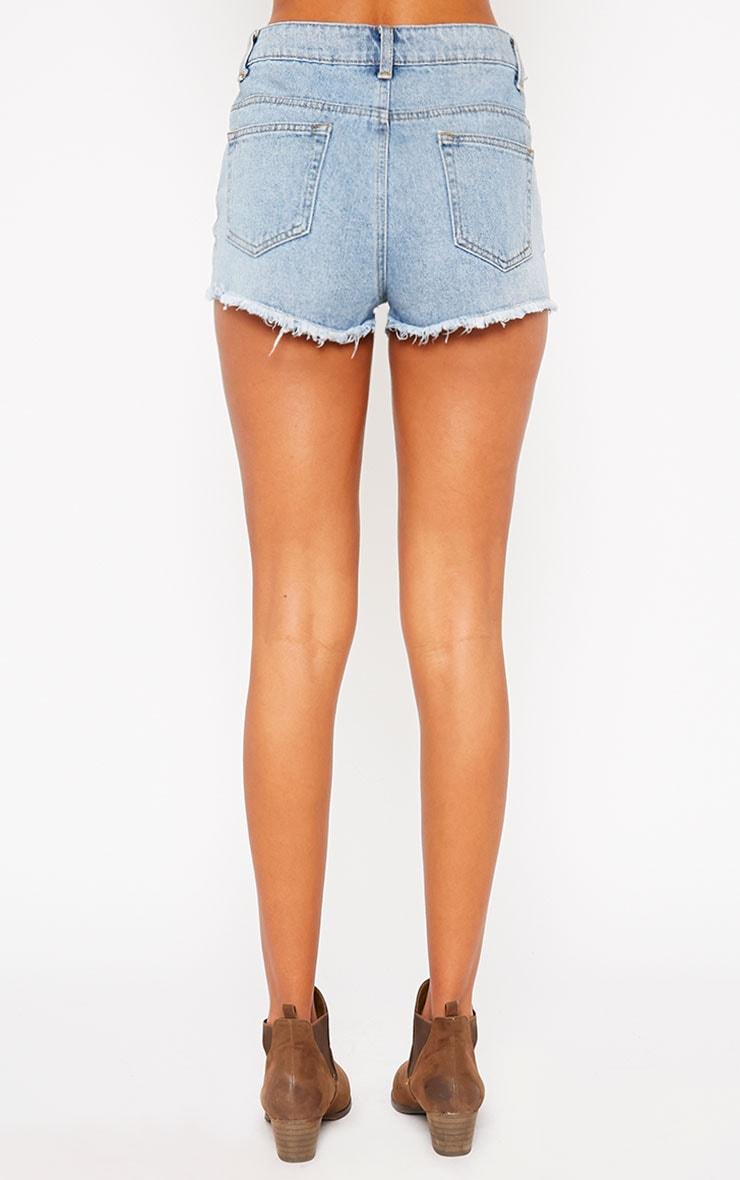 Addy Blue Frayed Hem Denim Shorts 4