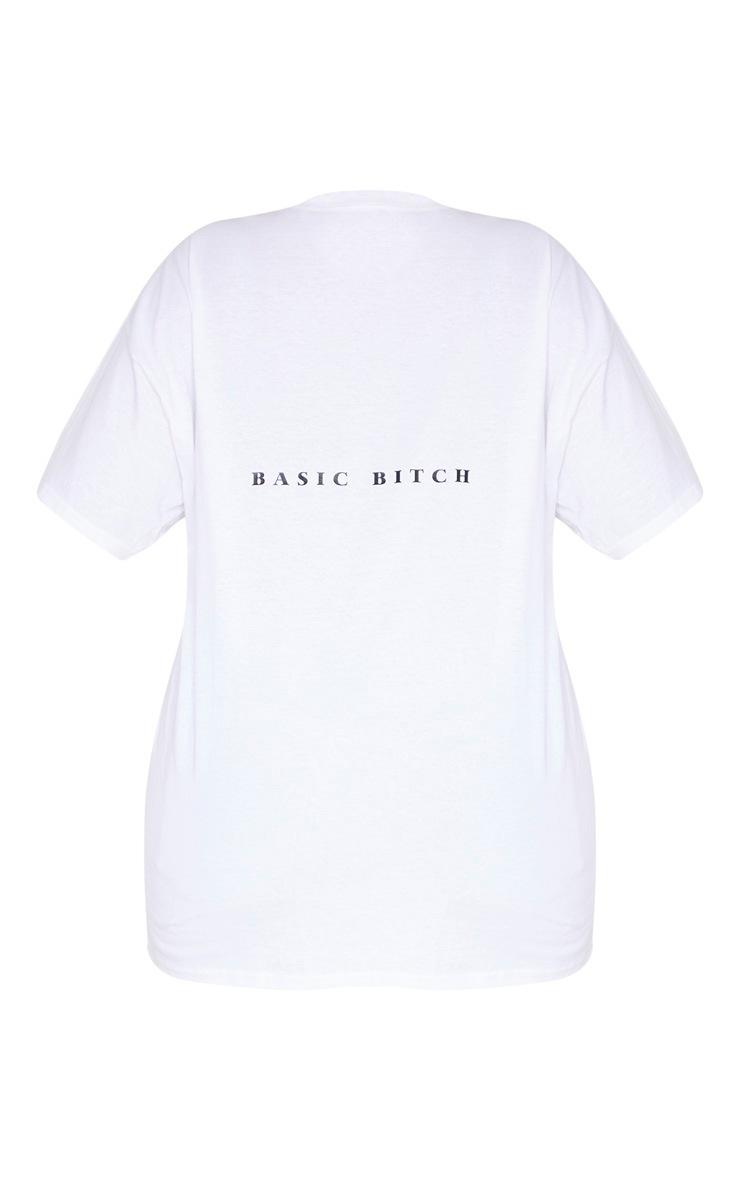Plus White Oversized Basic Bitch Slogan T Shirt 4