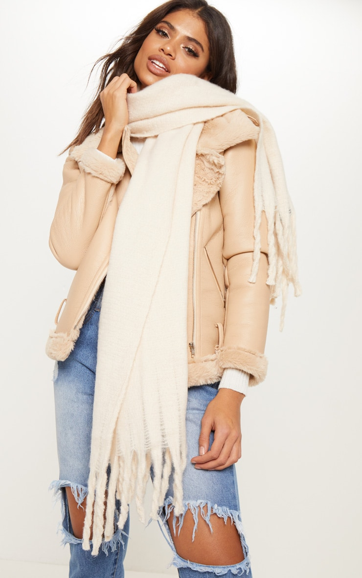 Cream Plain Oversized Scarf 1