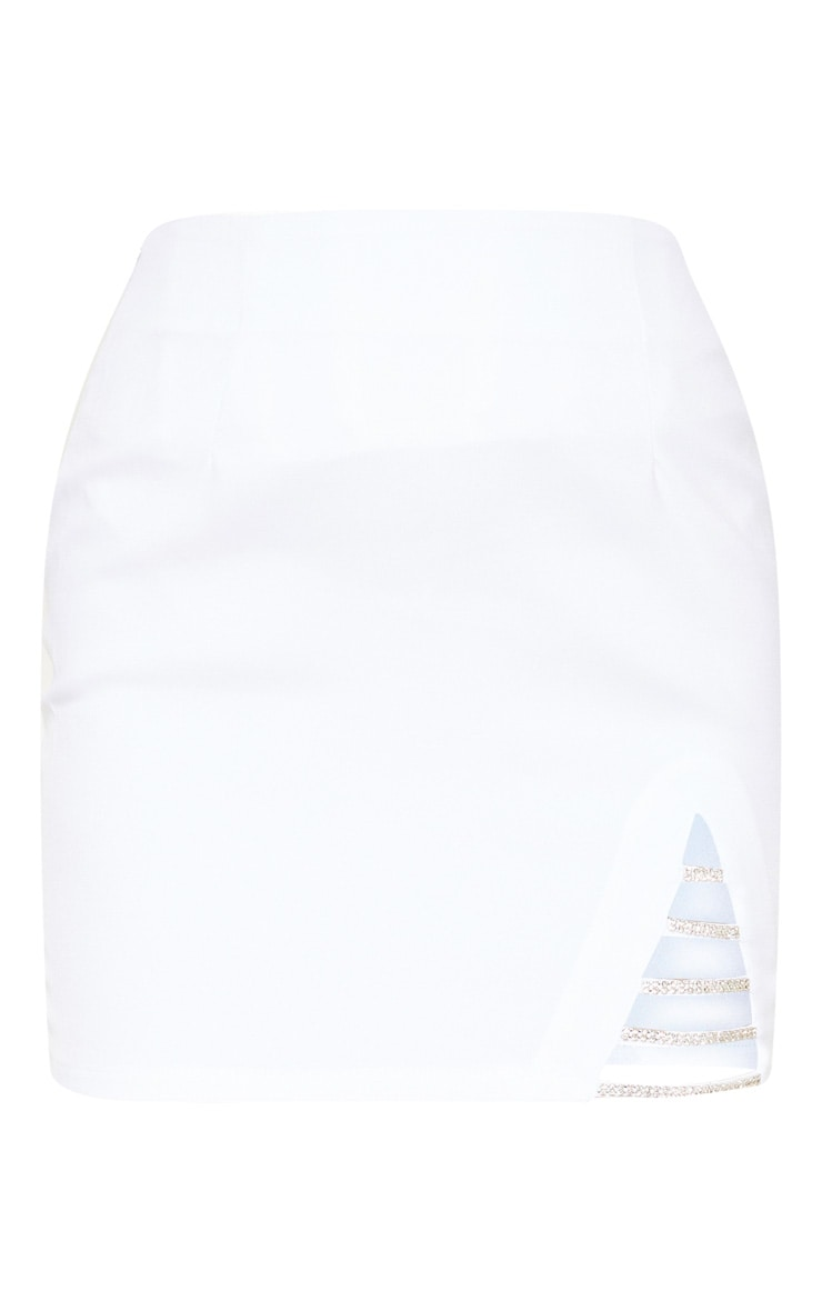 White Diamond Split Mini Skirt 3