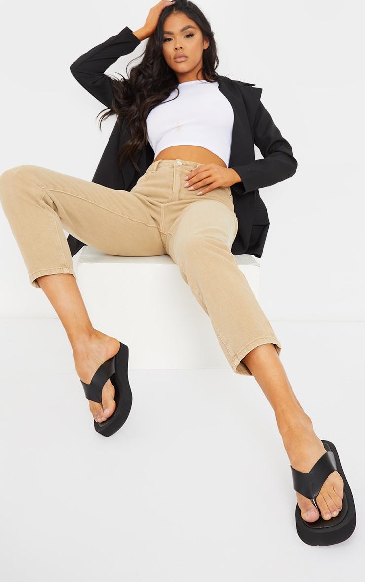 Black Pu Toe Post Flatform Sandals 2