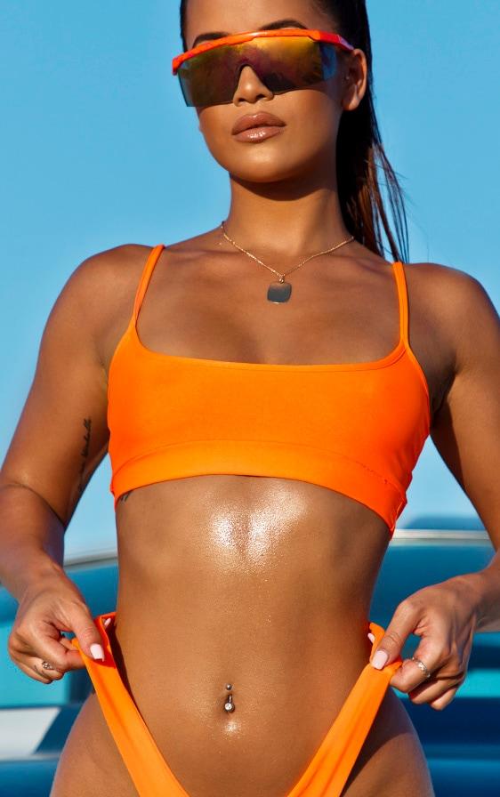 Orange Elasticated Scoop Neck Bikini Top 5