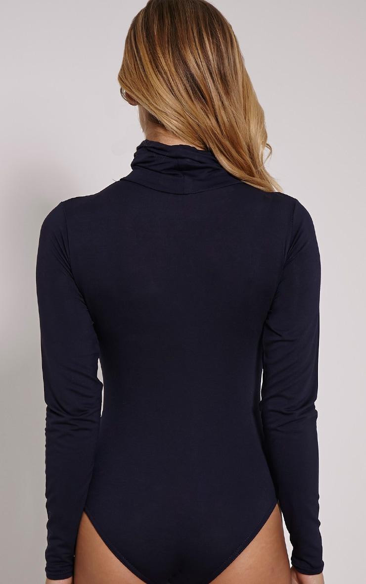 Basic Navy Roll Neck Long Sleeved Bodysuit 5