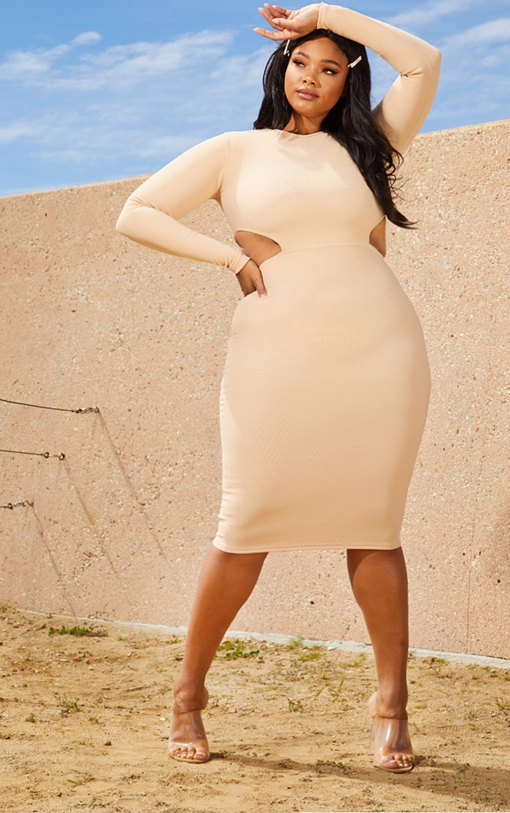 Plus Nude Second Skin Cut Out Side Midi Dress 1