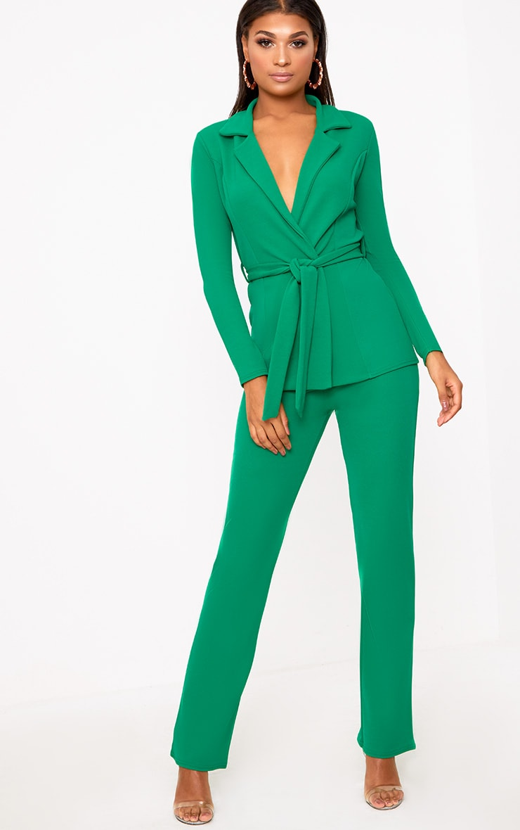 Green Straight Leg Suit Trousers | Trousers | PrettyLittleThing