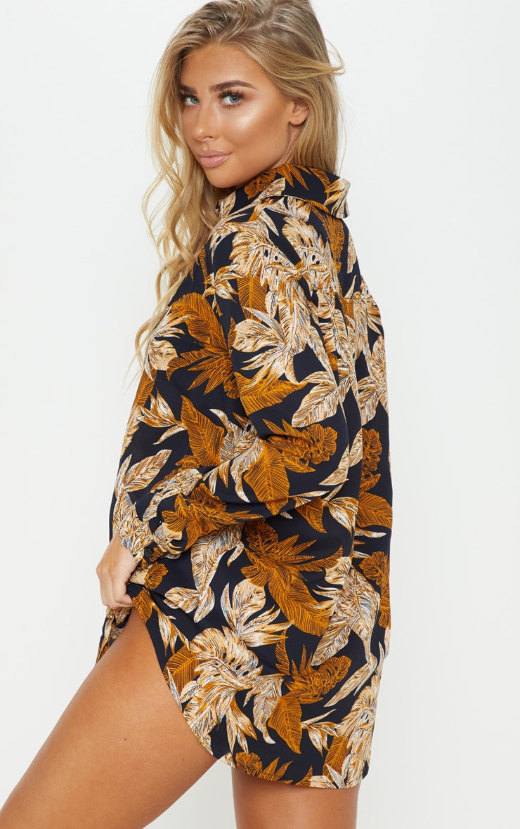 Black Palm Leaf Print Beach Shirt 2