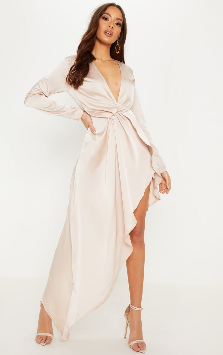 Champagne Asymmetric Hem Long Sleeve Plunge Satin Maxi Dress 1