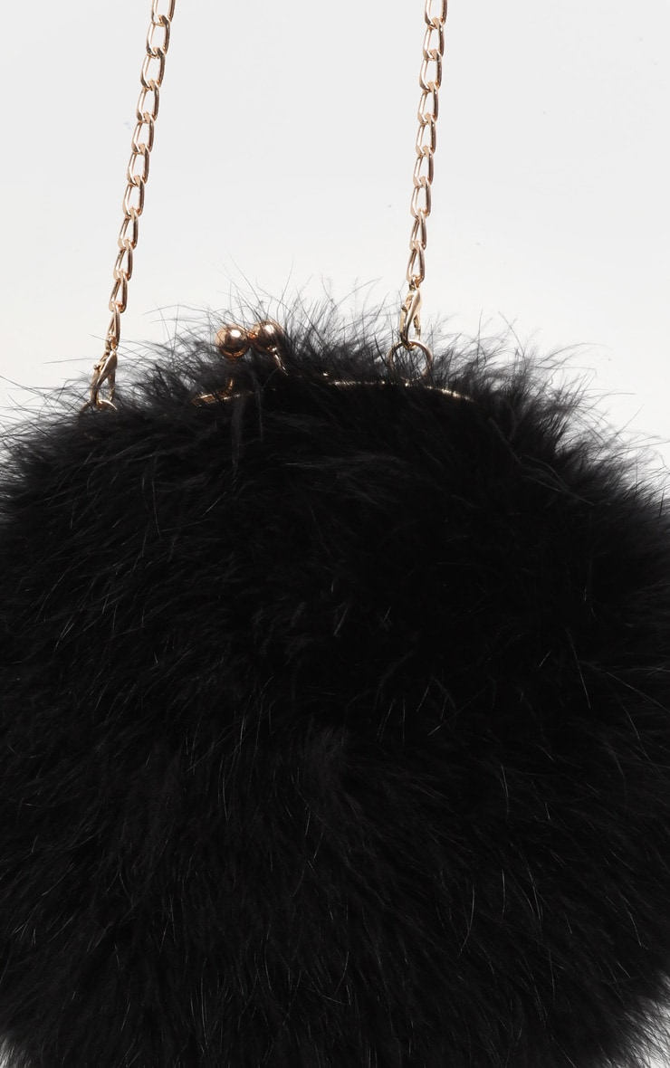 Black Marabou Feather Cross Body Bag 5