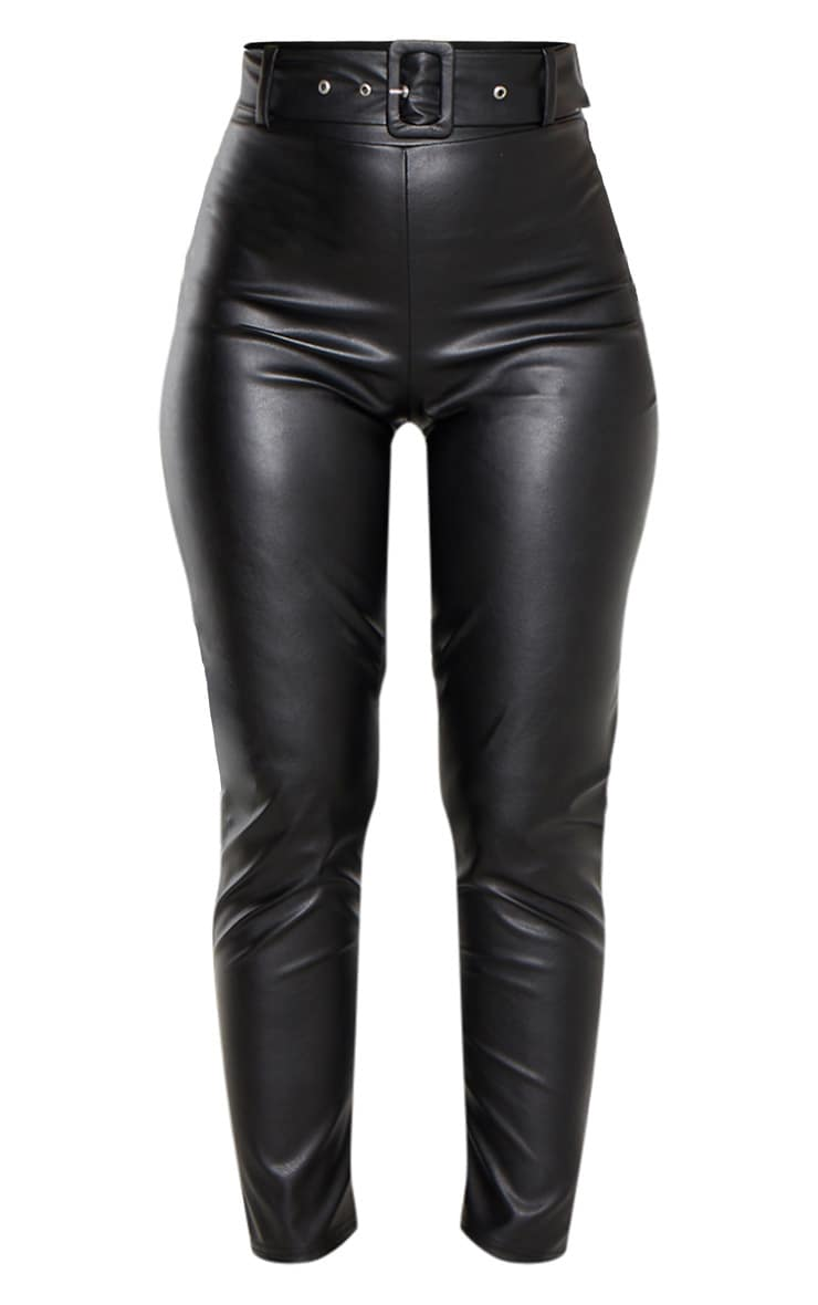 Black Faux Leather Belted Skinny Pants  3