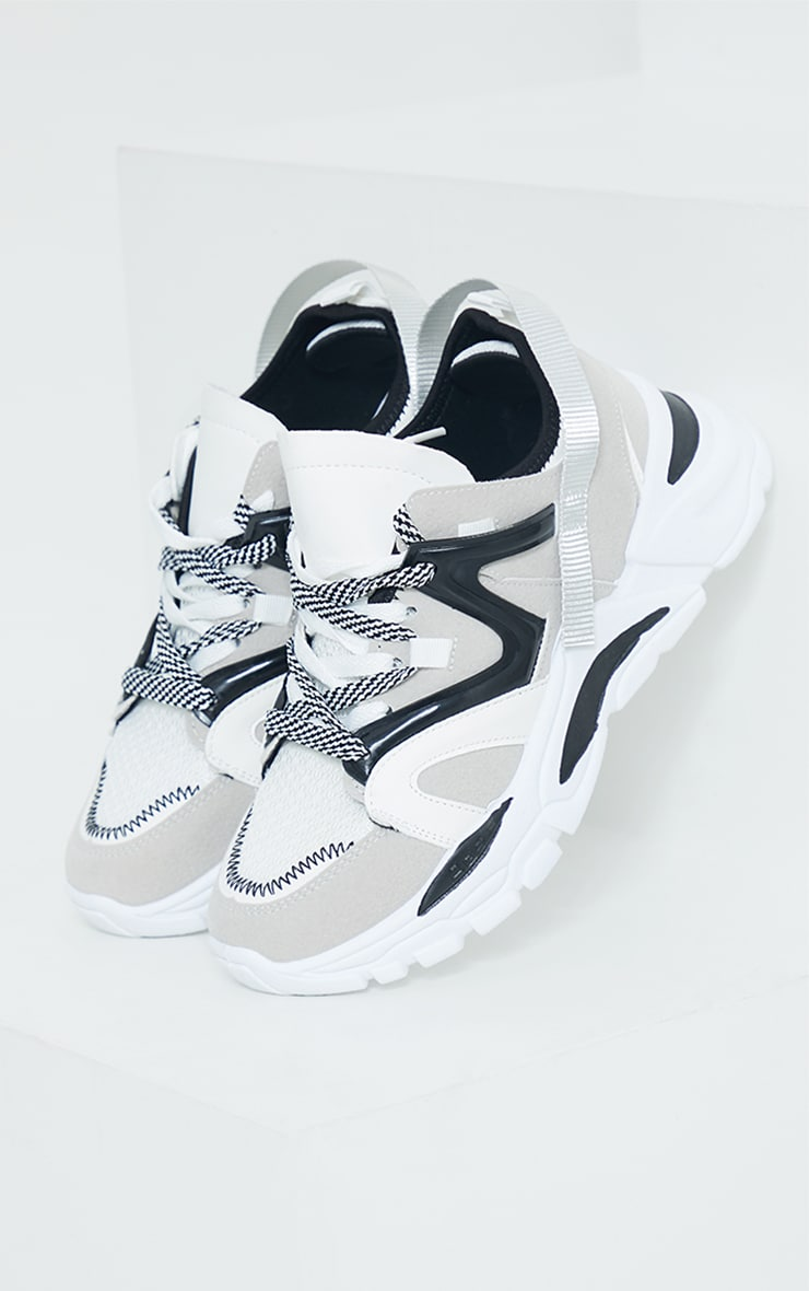 Grey Chunky Panelled Trainers 3