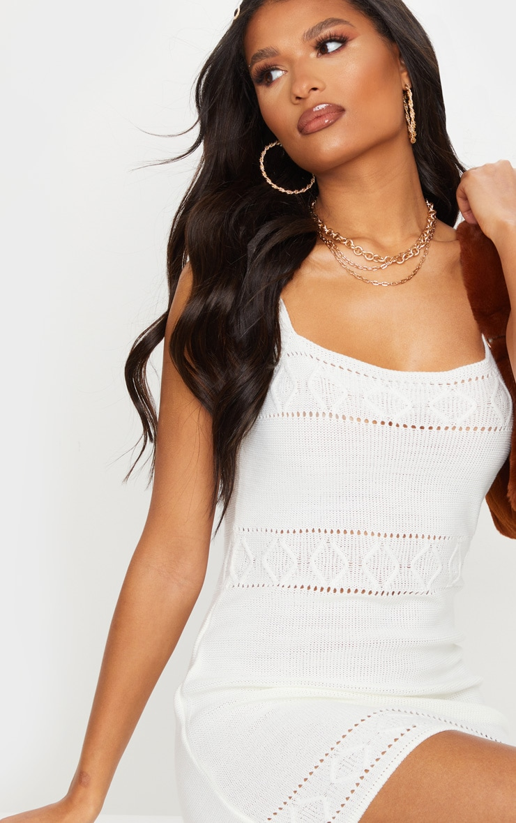 White Textured Knitted Strappy Mini Dress 4
