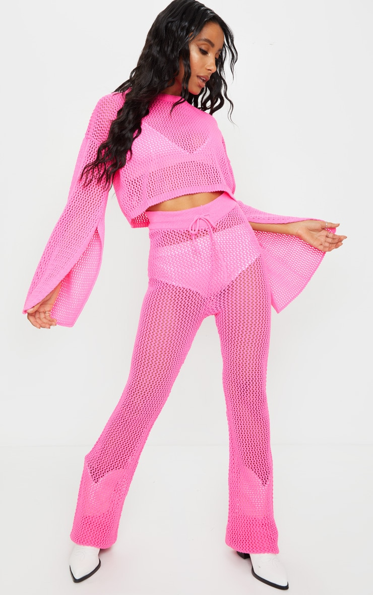 Pink Open Knitted Split Sleeve Set 3