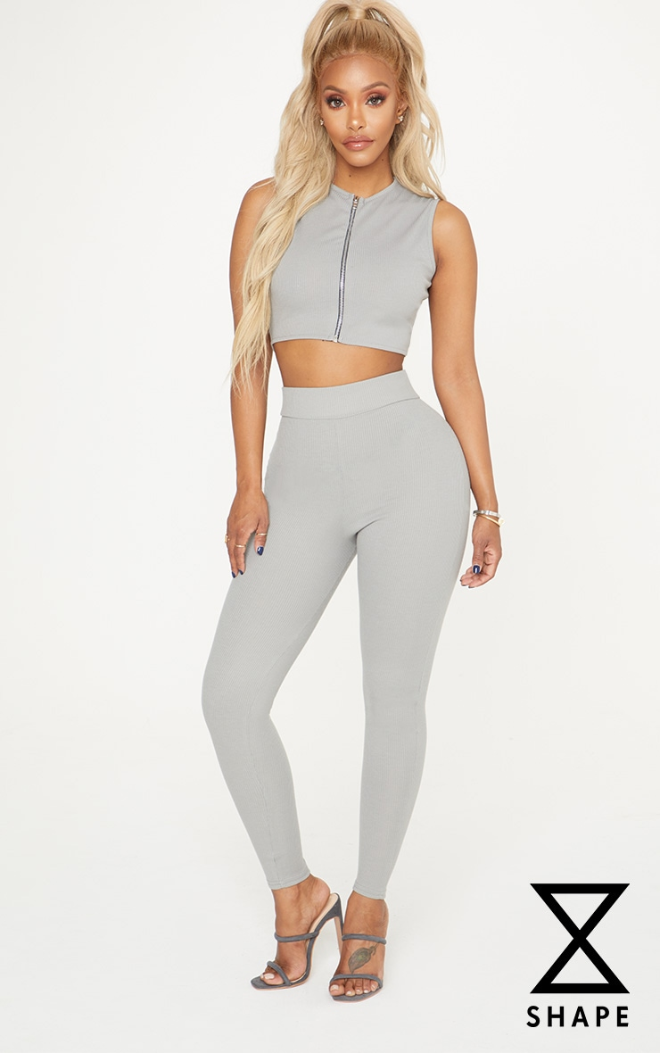 Shape Grey Ribbed High Waist Leggings