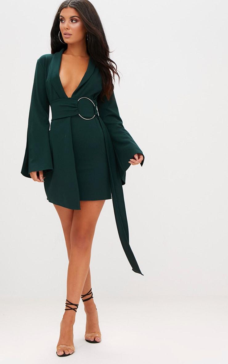 Robe blazer à anneau surdimensionné vert émeraude 1