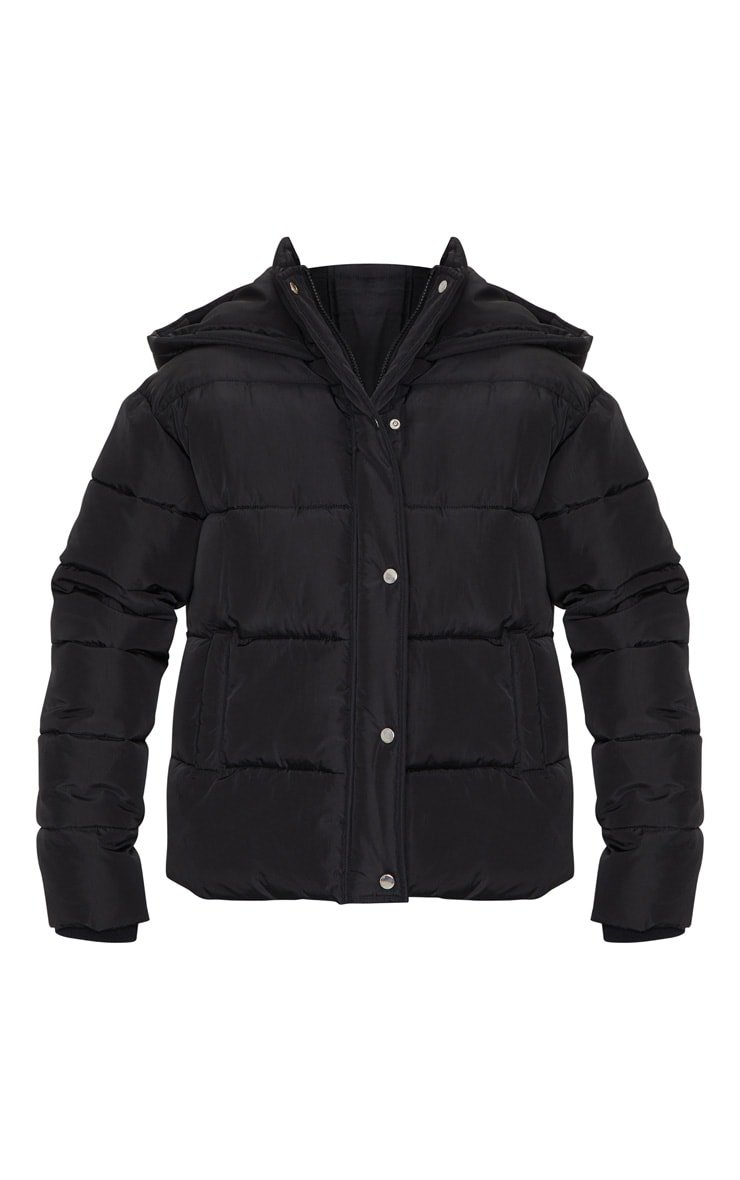 Black Hooded Puffer Jacket 5