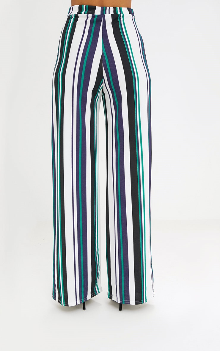 Green Stripe Wide Leg Trousers 4