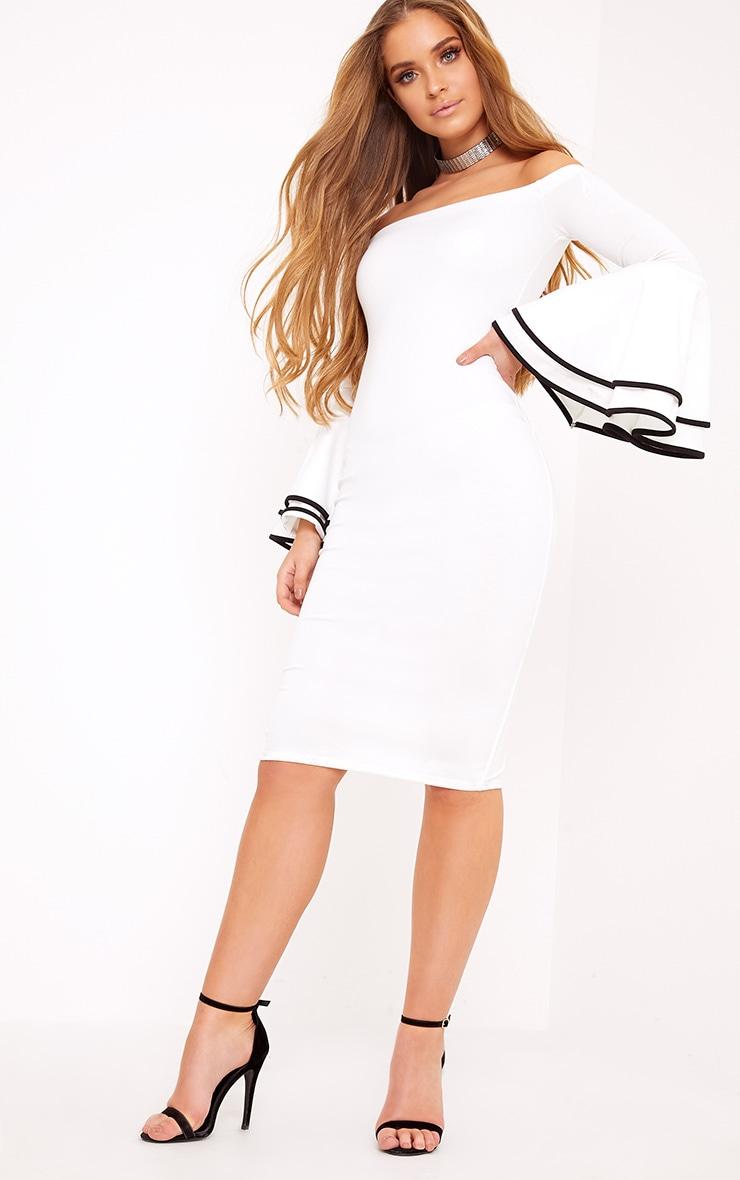Amandine White Piping Detail Flared Cuff Midi Dress 4