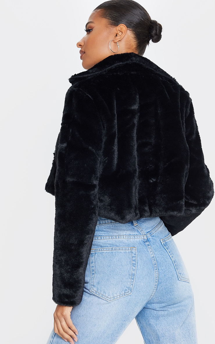 Black Cropped Faux Fur Coat 2