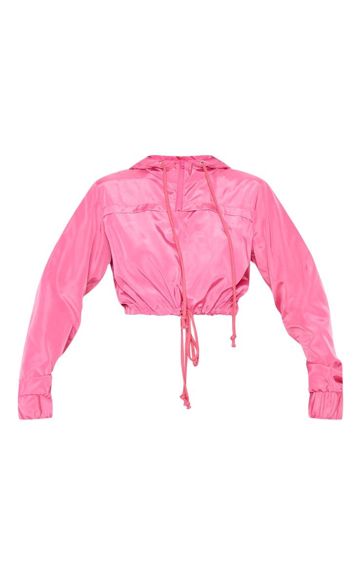 Pink Shell Drawstring Crop Hoodie 3