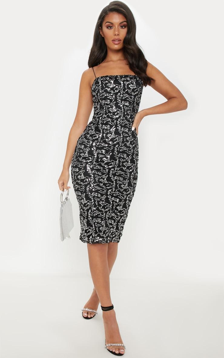 Black Lace Sequin Square Neck Midi Dress 1