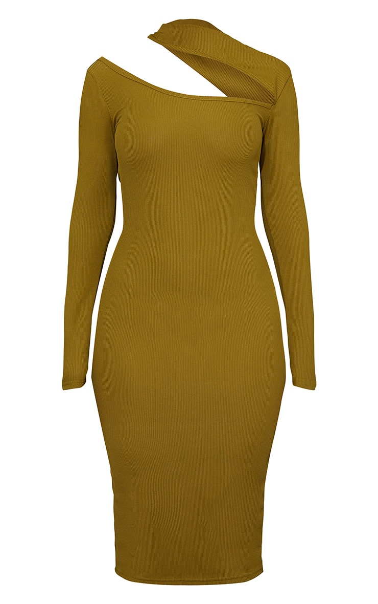Olive Ribbed High Neck Cut Out Detail Long Sleeve Midi Dress 5