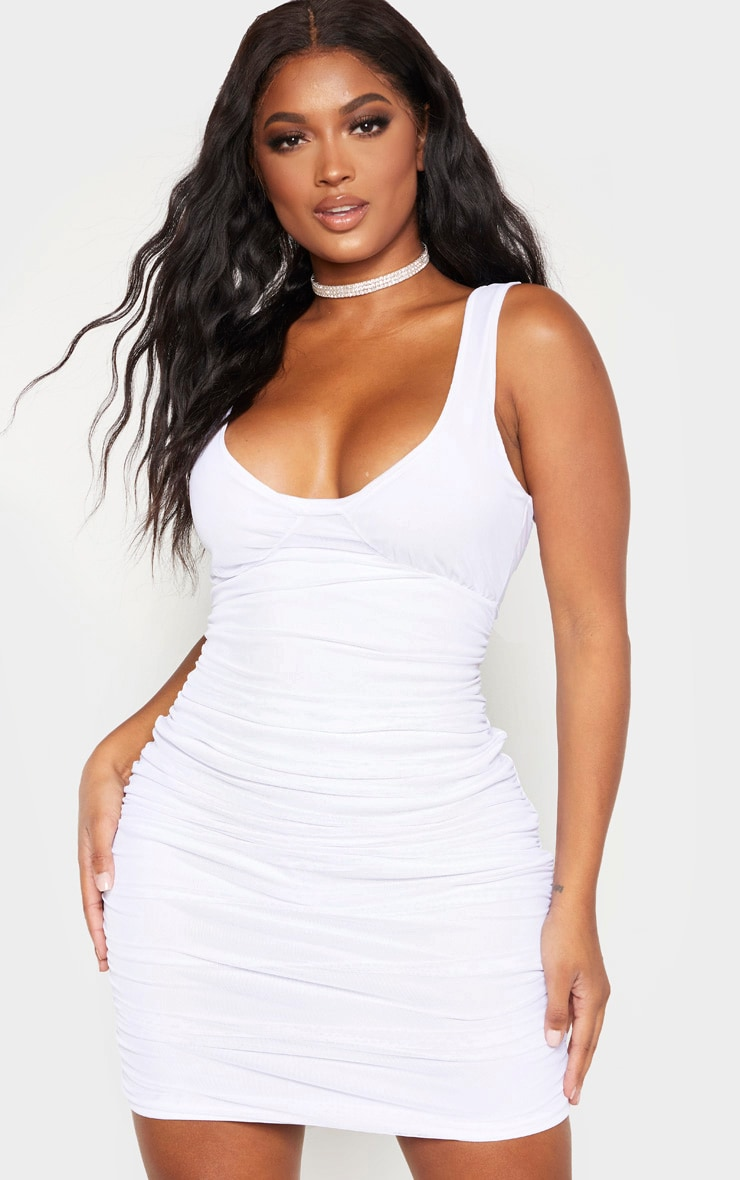 Shape White Mesh Cup Detail Bodycon Dress 1