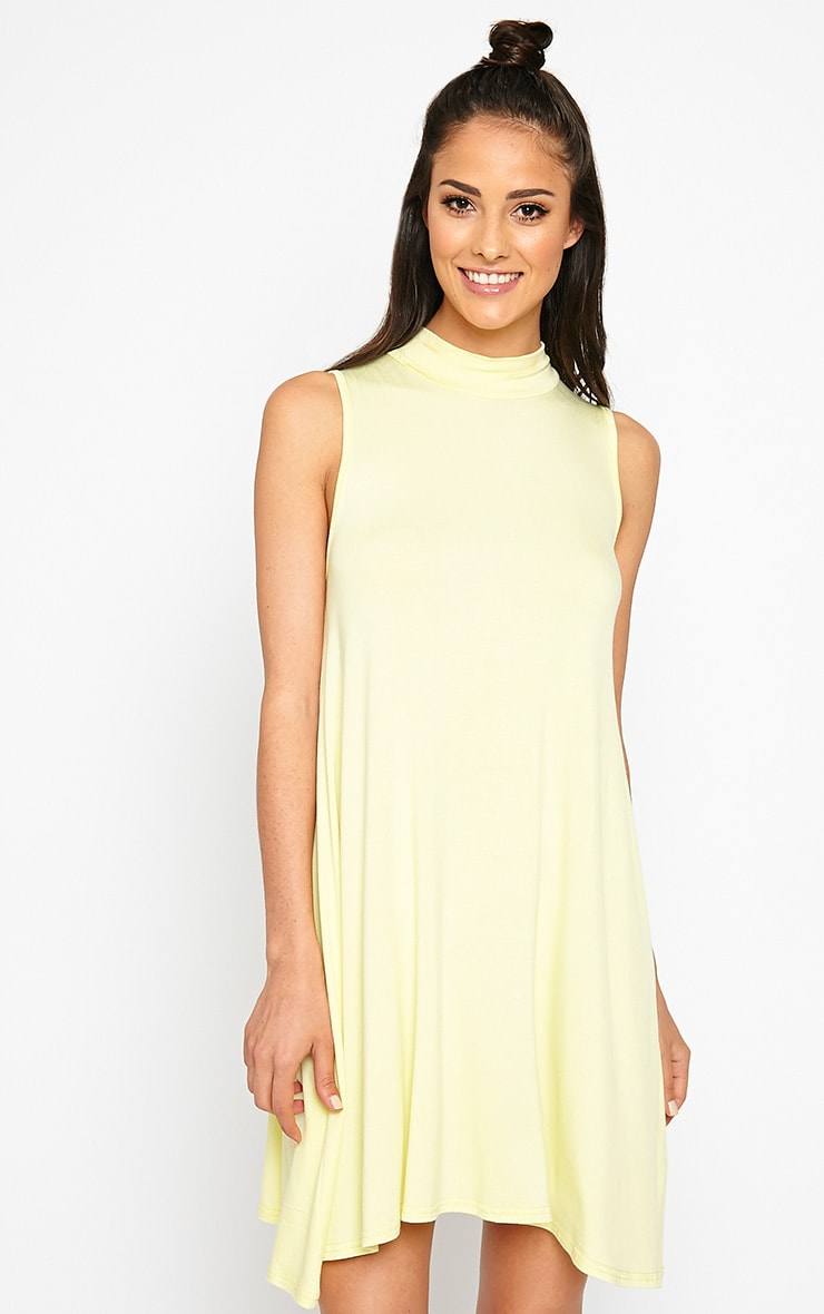 Aishha Lemon High Neck Jersey Swing Dress 1