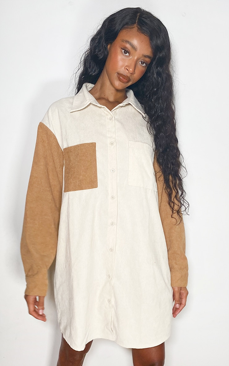 Cream Cord Pocket Front Oversized Shirt Dress 1