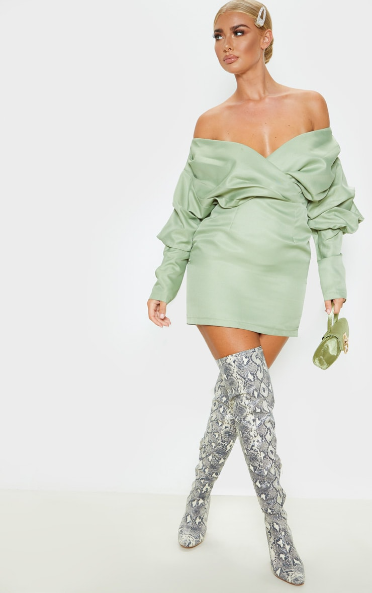 Sage Green Off The Shoulder Ruched Bodycon Dress 5