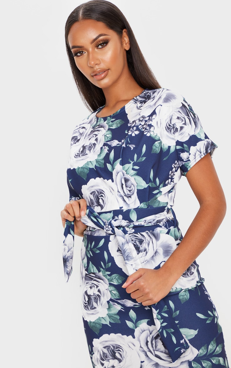 Navy Floral Print Short Sleeve Tie Waist Midi Dress 4