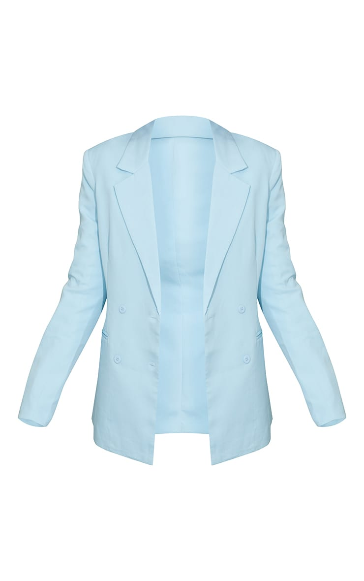 Light Blue Woven Double Breast Blazer 5