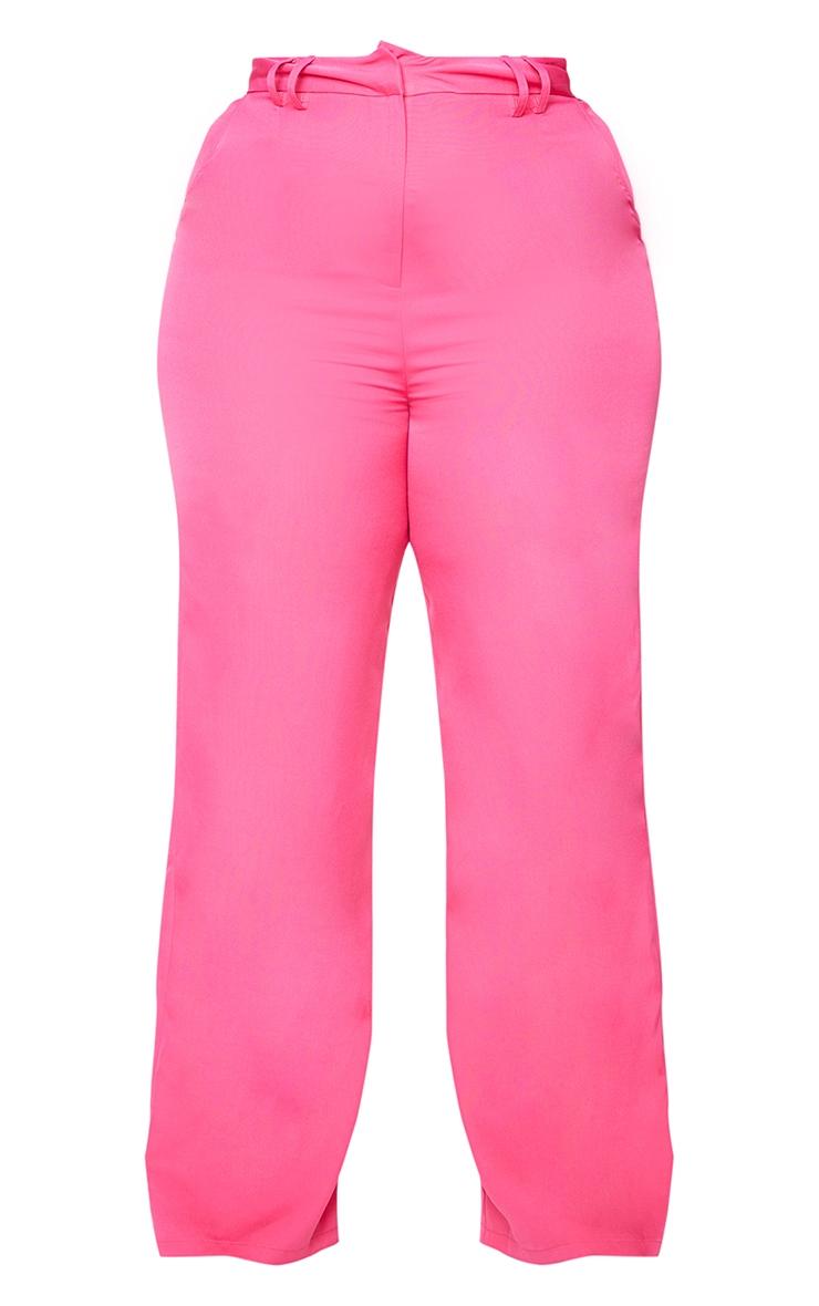 Plus Pink Woven Wide Leg Belt Loop Pants 5