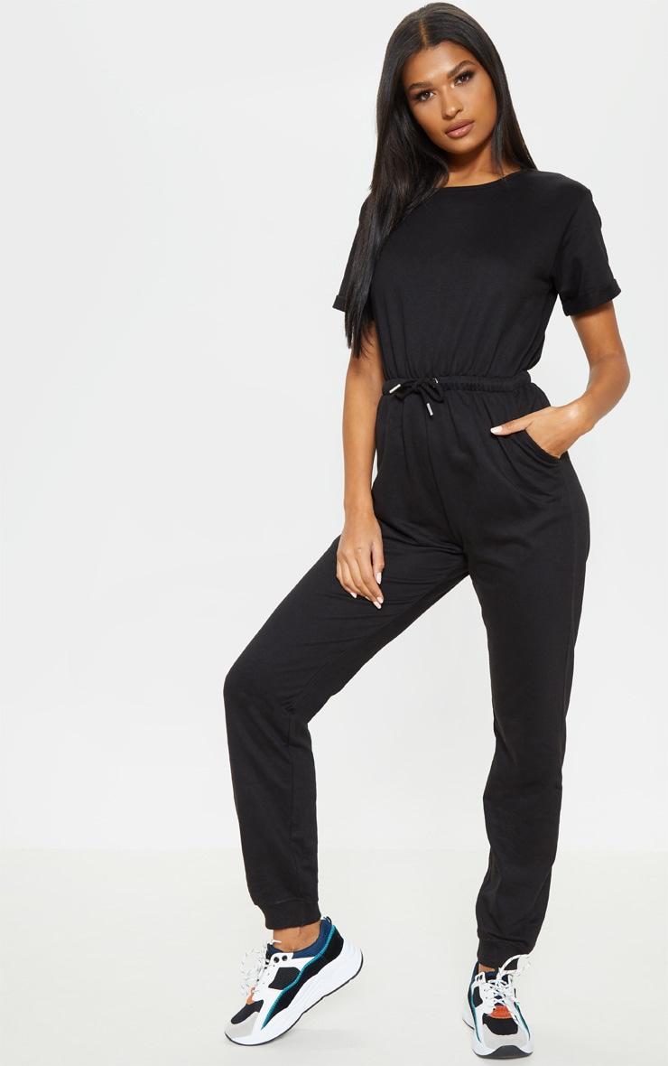 Black Sweat Short Sleeve Track Pant Jumpsuit 1