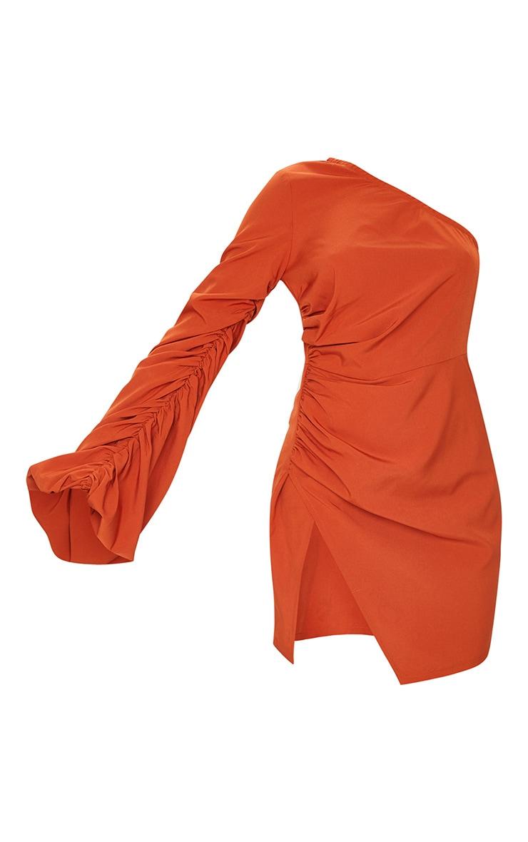 Rust One Shoulder Balloon Sleeve Bodycon Dress 5