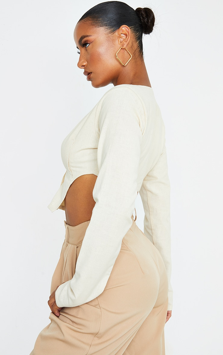 Sand Linen Feel Shoulder Pad Button Front Long Sleeve Crop Top 2