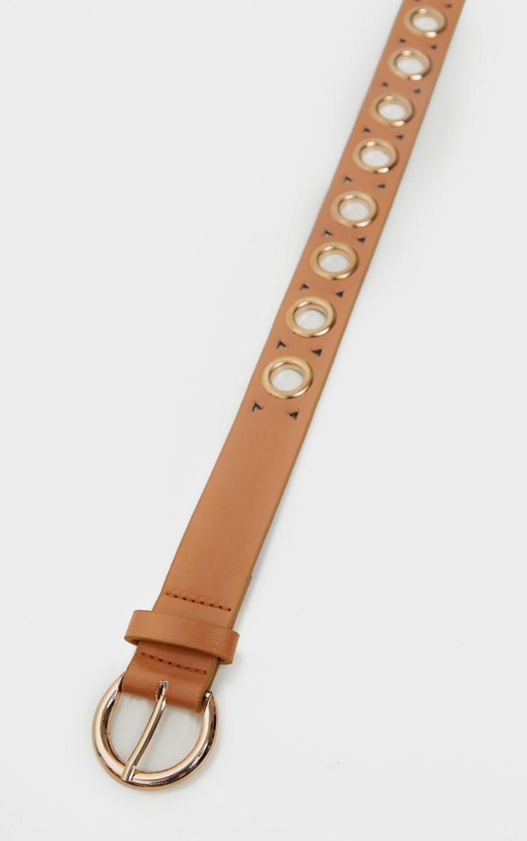 Tan PU Gold Eyelet Skinny Belt 3