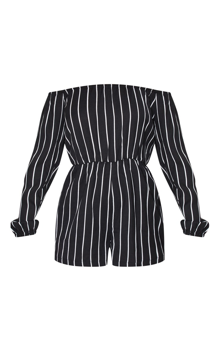 Kennie Monochrome Striped Bardot Romper 5