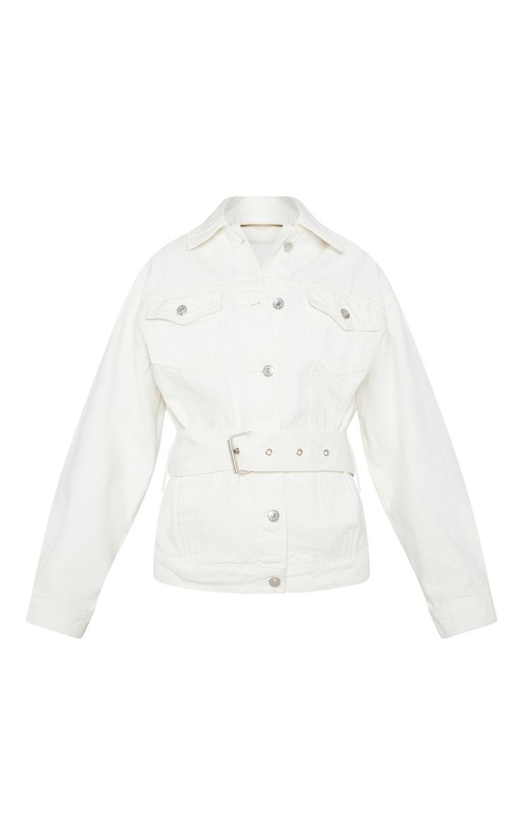 White Buckle Waist Denim Jacket  3