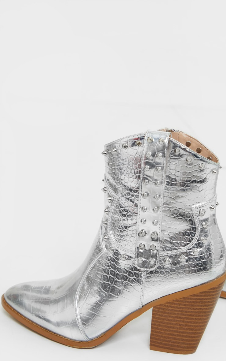 Silver Studded Western Heeled Boots 4