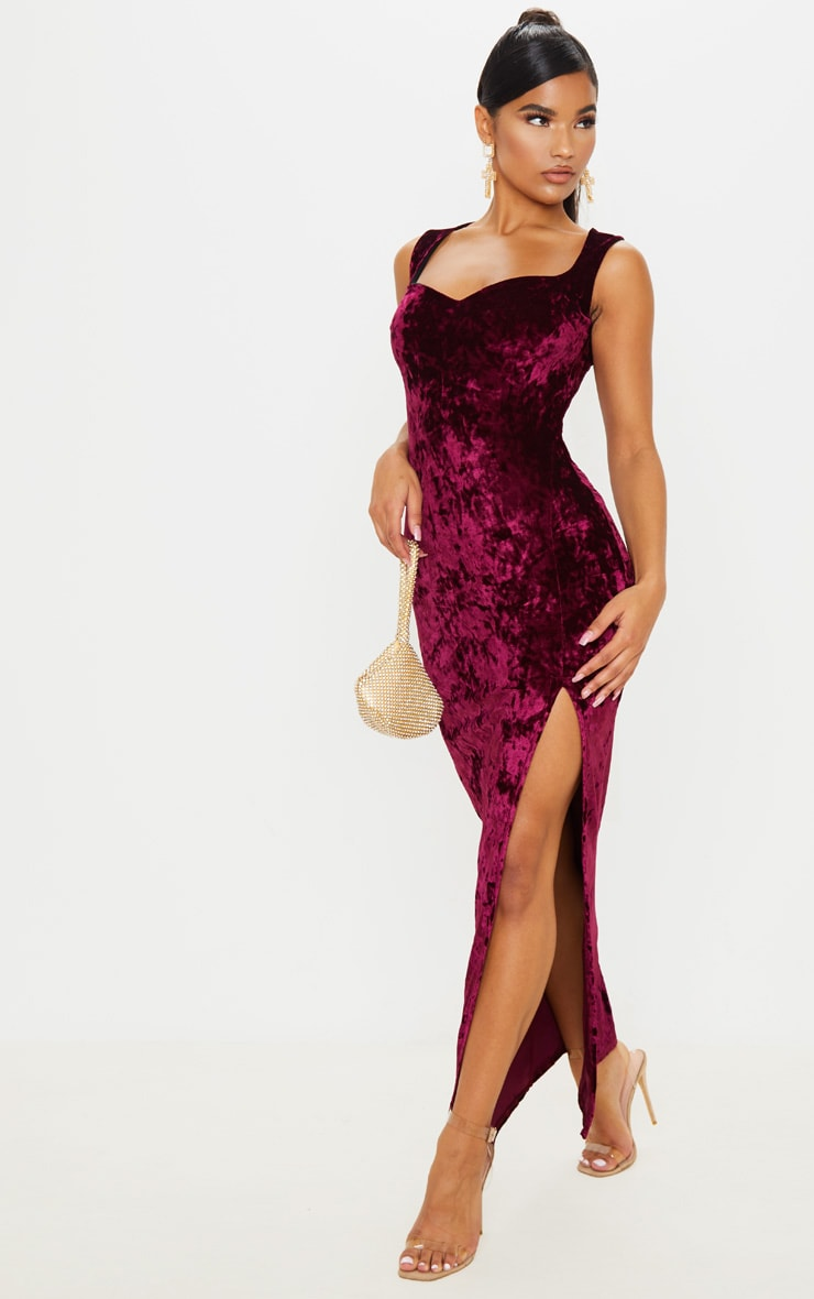 Burgundy Crushed Velvet Sweetheart Neck Maxi Dress 1