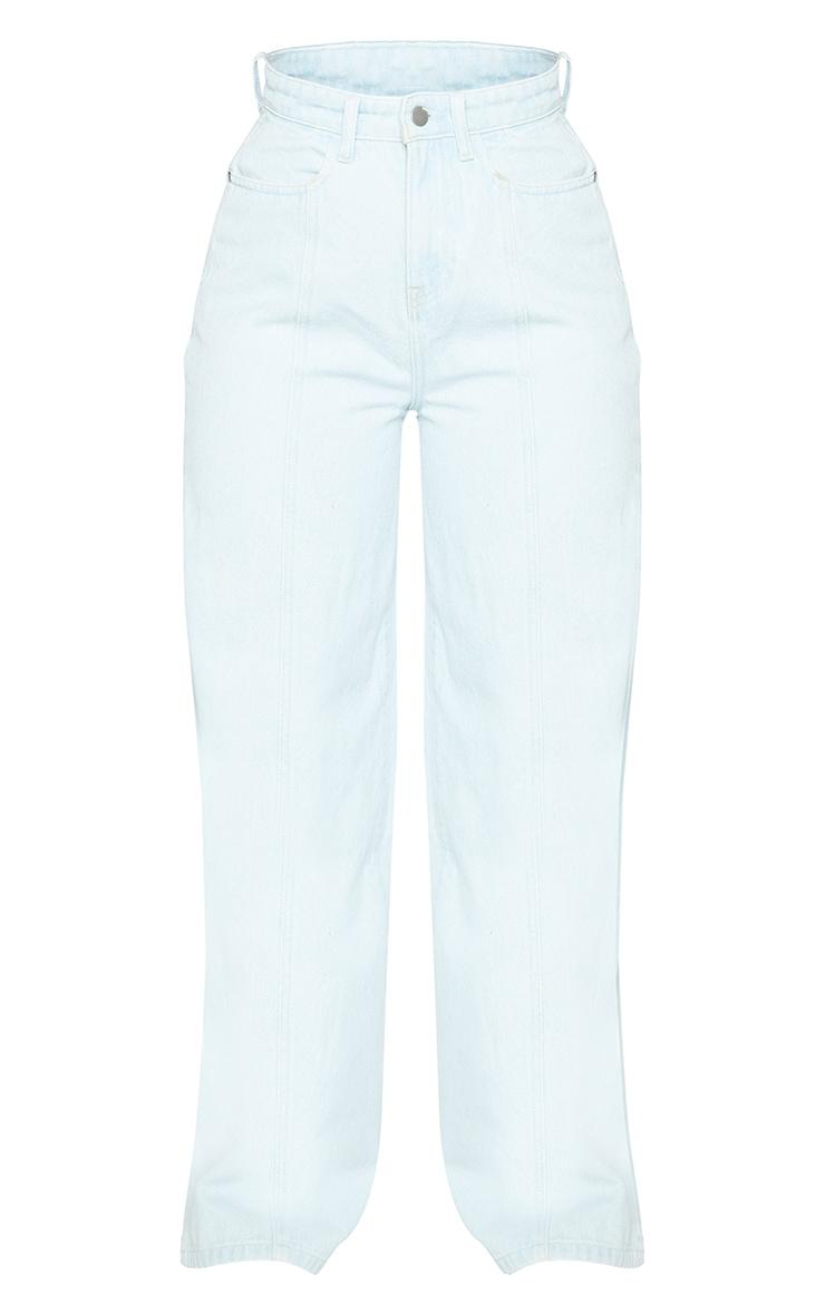 Light Blue Wash Seam Front Wide Leg Jeans 5