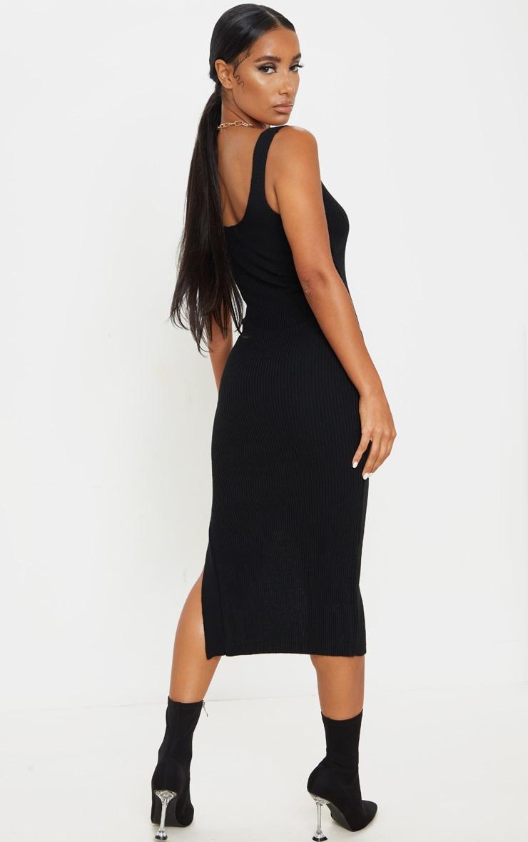 Black V Neck Side Split Knitted Midi Dress 2